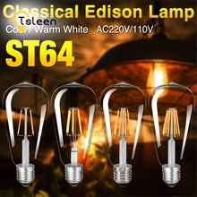 TSLEEN +Cheap+ 10PCS/Lot Retro LED Filament Light Lamp E27 ST64 Clear Glass Shell Vintage Edison Led Bulb 110V 220V 4 8 12 16W
