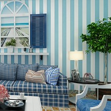 Custom Low Cost Non-woven Wallpaper Mediterranean Style Blue Bar Nostalgic Wood Bedroom Living Room TV Wallpaper(China)