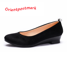 Women Black Shoes Women Ballet Wedges Shoes for Spring Autumn Shoes Oversize Boat Shoes Cloth Wedges Sweet Loafers breathable