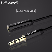 USAMS Aux Audio Extension Cable 3.5mm Jack 1m 2m Stereo Male to Female Lossless sound quality Phone Cable Earphone PC Extension