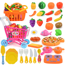 38PCS Kids Kitchen Cut Vegetables Fruit Toys Plastic Food Pizza Girls Pretend Play Cooking Toy Set Shopping Trolley Cart Basket