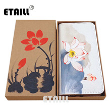 ETAILL Lotus Hand Painted Long Wallet Chinese Style Pankou Canvas Purse for Female Flowers Print Ladies Vintage Card Holder