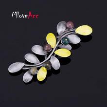 MloveAcc Korea Retro Fashion Style Brooch Leaf Brooch Women Elegant Clothing Accessories Alloy Brooch Pins