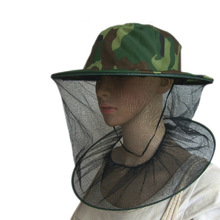 Practical Camouflage Field Jungle Mesh Face Mask Cap Mosquito Bee Bug Insect Fishing Hat #22867(China)