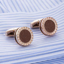 Rose Gold round Cufflinks Top Quality Onyx Cuff link French Shirt Cufflings red sand crystal square cufflink gemelos 52307
