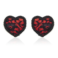 Lace Red Heart Nipple Pasties For Women Flirting Fetish Restraints Nipple Cover Ladies Stickers Bra Accessories