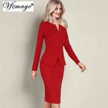 Vfemage Women Winter Elegant Front Zip Up Pleated Ruched Peplum Long Sleeve Wear to Work Office Business Party Sheath Dress 8348(China)
