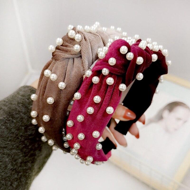 Trendy Retro Hairbands Simple Pearl Velvet Knotted Headband Headwear Hair Accessories