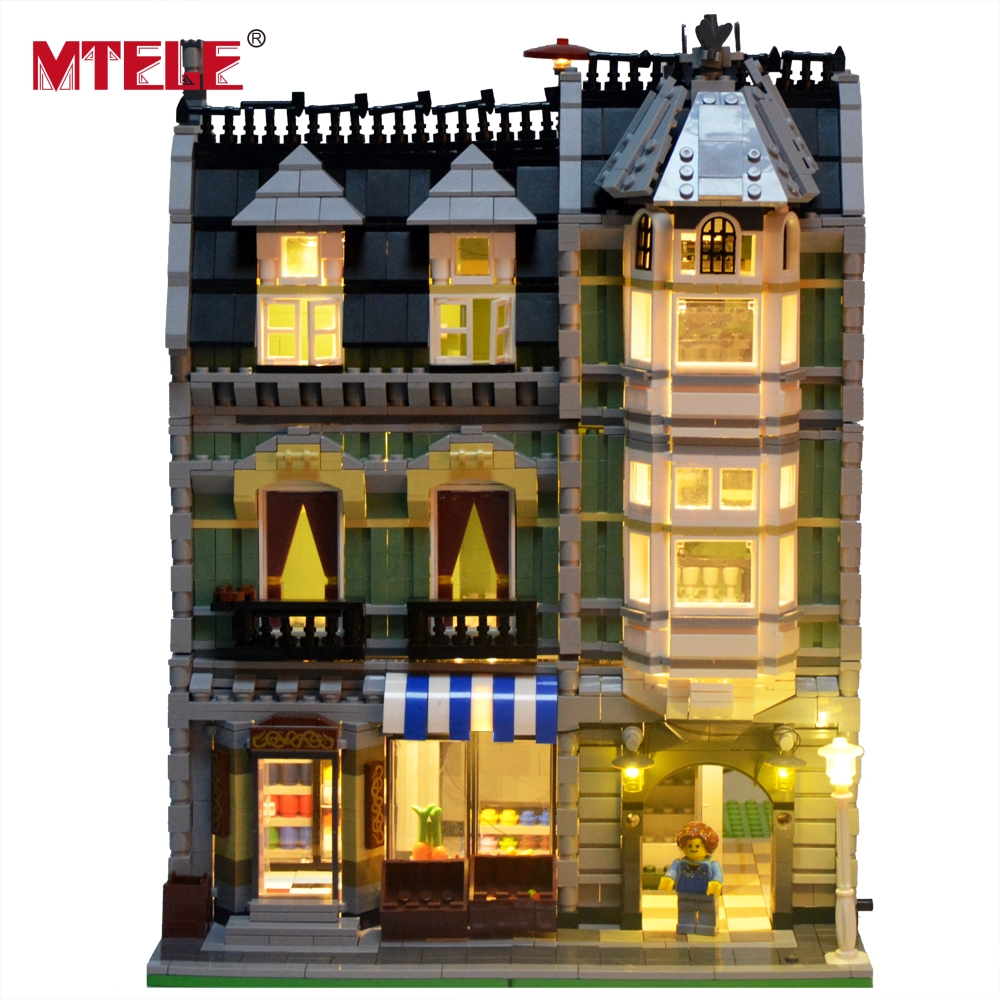 MTELE Brand New Arrival Led Light Building Blocks Set For Green Grocer House Model Toy Lepin 15008 Compatible with lego 10185<br>