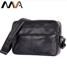MVA Crossbody Bag Black Fashion Men Messenger Bags Small Flap Solid Mens Shoulder Bags Zipper ipad Genuine Leather Men Bag Male