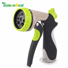 LemonBest Garden Hose Nozzle Hand Sprayer 8 Pattern Adjustable Heavy Duty Metal Slip Resistant High Pressure Car Wash Water Gun(China)