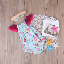 Children Bodysuits Clothing Girls Kids Floral Baby Girl  Jumpsuit Bodysuit Headwear Clothes Outfits 2pcs Set