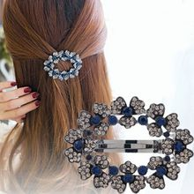 1PC Hot New selling Headwear Blue Rhinestone Hairclip Spring Hollow Crystal Flower Hair Clip Hair Accessories(China)