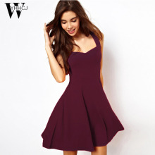 WYHHCJ 2017 elegant sleeveless dress women solid a-line casual summer dresses fashion party bodycon dress robe femme hot