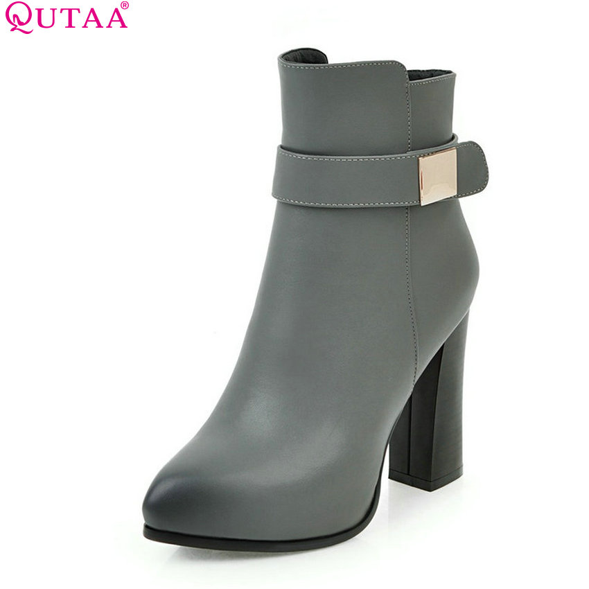 QUTAA 2018 Women Ankle Boots Square High Heel Pointed Toe Zipper All Match Women Shoes Ladies  Motorcycle Boots Size  34-43<br>