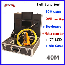 Pole inspection camera Factory Price 40meter cable with 7inch tft monitor pipe inspection camera keybaord meter counter dvr type(China)