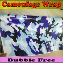 High Quality Blue / white Camouflage Vinyl Wrap Air Bubble Free Camo Wraps For Car Wrap Graphics size 1.50x30m/Roll(China)