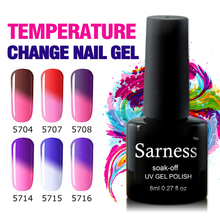 Sarness Black Botella 8ml Thermal Chameleon Gel Polish Nail UV Gel Varnish Liquid Latex Enamel Polish(China)