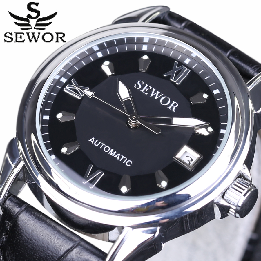 2017 New SEWOR Fashion Watch Mens Watches Top Brand Luxury Montre Homme date Clock Men Automatic mechanical Watch Leather Strap<br><br>Aliexpress