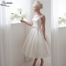 Sexy Beach Bridal GownsTea Length Bow Plus Size Wedding Dresses Short Polka Dots Tulle Vintage Vestido de Noiva 2016