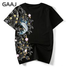 """GAAJ Men T Shirts embroidery fish Top Brand Clothing Chinese Japanese Style T-shirts For Man Tees Streetwear Cotton Plus Size"