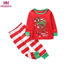 Toddler Kids Baby Girl Boy suit Deer print Clothes long sleeve T-shirt Top+Pant Set 2018 Winter home wear costume(China)