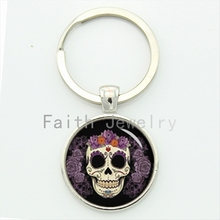 Day of the Dead jewelry beautiful purple flowers sugar skull key chain romantic national traits keychain festival pop gift KC611(China)