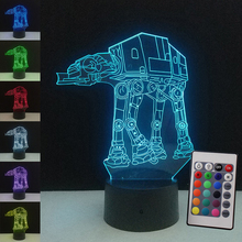 3D Illusion Transporting dogs Table Lamp Star Wars Christmas gift LED Night Light 7 Colors Child Kids Nightlight Desk Lamp(China)