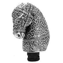 Universal High Quality Resin Silver Cool Antique Horse Head Shaped Car Manual Gear Shift Knob Lever Automobile Accessory(China)