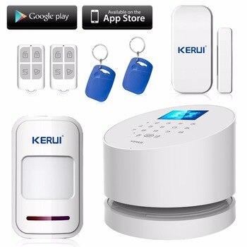2016 aplicación de teléfono wifi inalámbrico sistema de alarma kerui w2 wifi gsm sistema de alarma de PSTN línea telefónica traje cámara ip wifi RFID desarmar