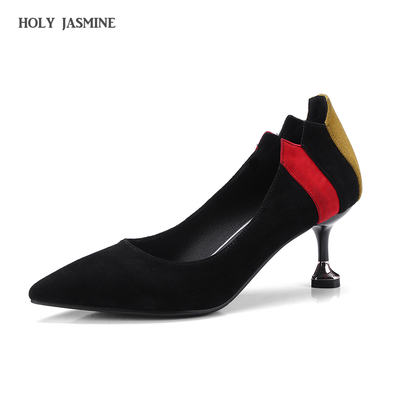 2018 Spring New sexy Woman shoes Elegent lady 6.5cm High Heels Pumps spell color Thin Heel Pointed Toe OL work Shoes paty shoes<br>