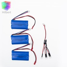 7.4V 1500mah li-po battery 3pcs and charging 3 in1 cable for DH9053 9101 mjx f45 9118 rc Helicopter parts(China)