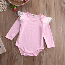 Autumn Newborn Infant Baby Kids Girl Clothes Long Sleeve Cotton Romper Lace Splice Jumpsuit Outfits(China)