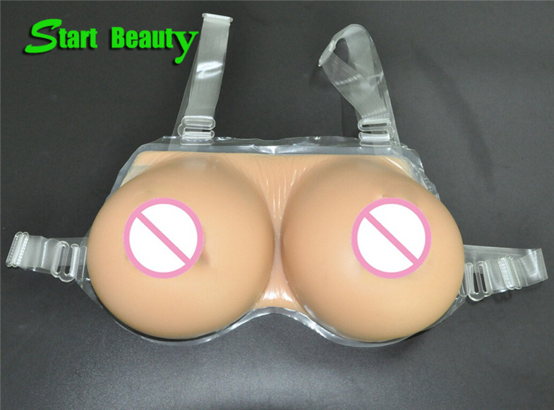 1 Pair 1000g D Cup 100% silicone One Piece Tan Breast Forms with Strap fake breasts transsexuals Boobs Tits CD Flase breasts<br>