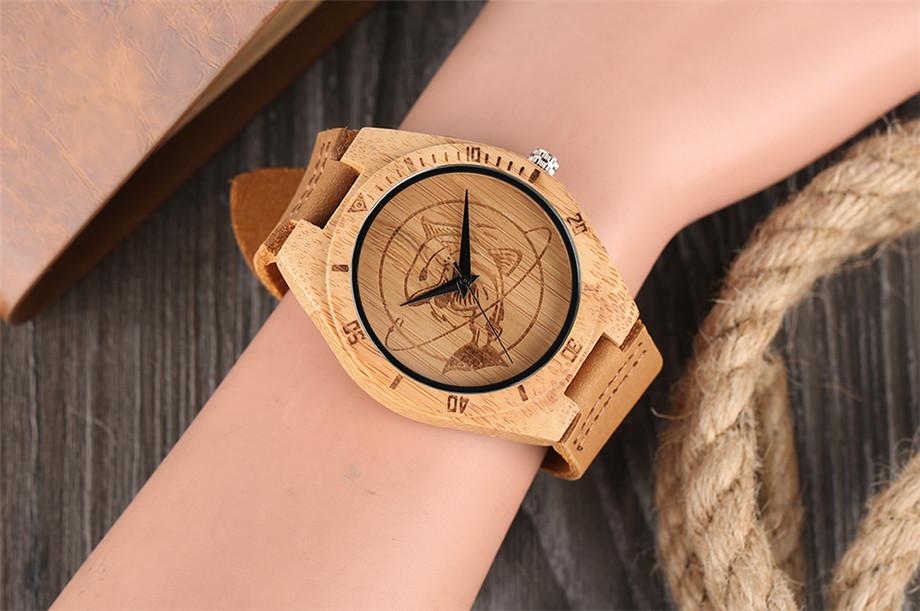 ทำมือไม้ไผ่นาฬิกาสำหรับผู้ชายผู้หญิงS CulptedออกแบบฉลามแบบDialหนังแท้สายคล้องสายนาฬิกาข้อมือ 7