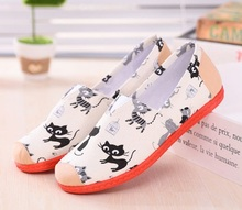 Women fashion mary shoes cool lady work flat shoes female floral printed pink shoes zapatos de mujer(China)