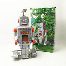 Antique Style Tin Toys Wind Up Toys Robots iron Metal Models for Children/Adult Home Decoration Metal Craft MS372 robot(China)