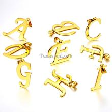 "2015 Fashion 26 Letters Gold Initial Letter Pendant Necklace For Women Men Stainless Steel Chain Necklaces 22"" - 1 piece(China)"