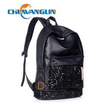 Chuwanglin New Leisure women's leather backpack large capacity Pure color Travel bag girl's school bag Student backpack #N30