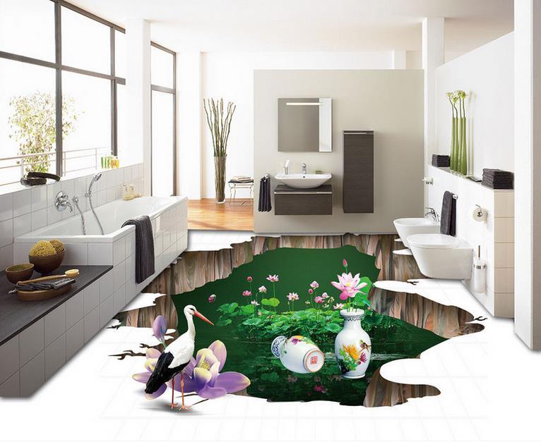 high quality 3d floor tiles custom self adhesive wallpaper Stone carp 3d floor murals bathroom kitchen wallpaper 3d floor<br>