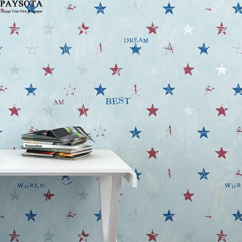 2017 New Papier Peint Papel Pintado Paysota Children Room Stars Letters Cartoon Wallpaper Boy Lovely Bedroom Warmth Wall Paper <br>
