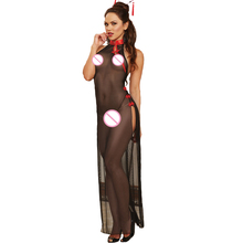 New Chinese Cheongsam Dress Sexy Lingerie Nightgowns Transparent Long Dress Women Costumes Sex Products Sexy Underwear Role Play