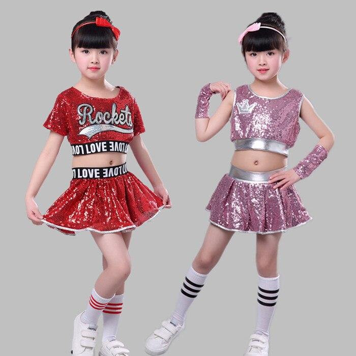 Girls Sequins Ballet Tutu Dress Costume Spark Jazz Modern Dancewear Outfit Set