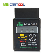 TOP Free Shipping HH OBD MINI Diagnostic Tool ELM327V1.5 Black Bluetooth OBD2 Car CAN Wireless Adapter Scanner TORQUE ANDROID(Hong Kong)