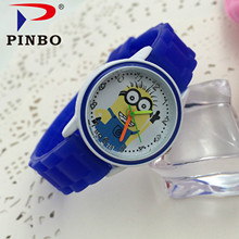 PINBO Despicable Me minion Cartoon watch Doraemon cat Cute Children clock Baby kid Quartz Wrist Watch for Girl Boy Relojes Mujer