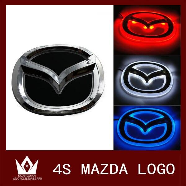 Guang Dian 12cmx9.5cm For mazda 2 For Mazda 3 4D/4S  front rear back light LED cold light emblem led logo Car Sticker car badge<br><br>Aliexpress