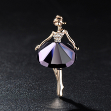 Beautiful Princess Ballerina Brooch Exquisite Brooch Bling Gem Brooch Wedding Bridal Rhinestone Dresses Ballet Girl Jewelry
