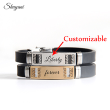New Fashion Engrave DIY Name Letter Customized Silicone Stainless Steel Bracelet Women Men Bracelets & Bangles(China)