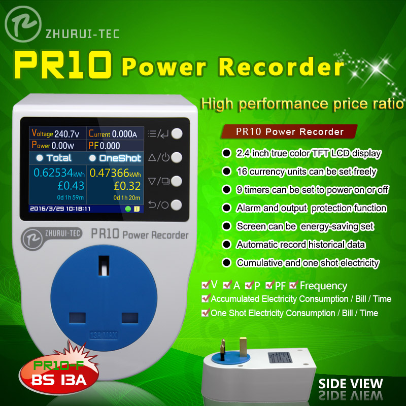 PR10-F UK 13A  power metering socekt/ kwh meter/ 0.1~3250w/watt meter/power recorder/Automatic record historical data<br><br>Aliexpress