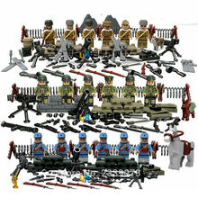 ZXZ 6 Pieces/set World War 2 Heavy Fire DIY blocks Military Amy Swat Soldiers Models & Building Toy Blocks For Children